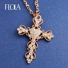 big rhinestone necklace images Fashion jewelry gold cross necklace pendant big rhinestone jpg