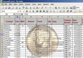 Excel Database Templates Free Type Set Coin Collecting