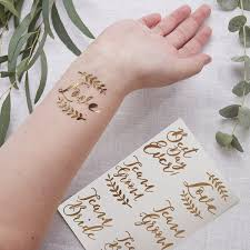 ginger ray rose gold temporary wedding tattoos x 12 team bride