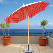 Wood Patio Umbrellas Galtech 9 Ft Wood Patio Umbrella With Crank Lift And Rotational