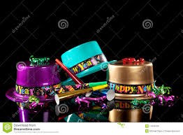 noisemakers for new years new years hat and noisemakers on black royalty free stock