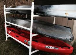 homemade pvc kayak rack can store 4 kayaks paddles kayak car