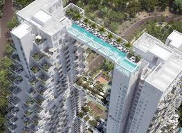 Singapore Apartments by Two Skyscrapers Joined By A Bridge That Is A Swimming Pool