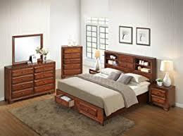 Amazoncom Roundhill Furniture Oakland  Antique Oak Finish - Oakland bedroom furniture