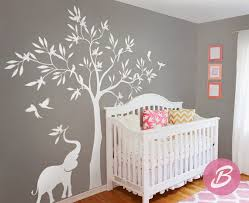 White Tree Wall Decal Nursery White Tree Wall Decal Wall Decal With Elephant Large Tree Wall