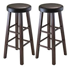 cushioned bar stool amazon com winsome wood marta assembled round bar stool with pu
