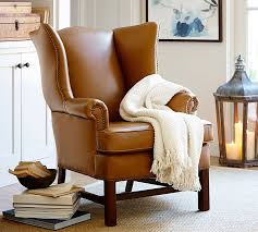 Armchair Leather Design Ideas Thatcher Leather Wingback Chair Pottery Barn