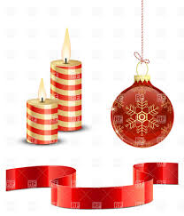 bauble ribbon and candles vector clipart image