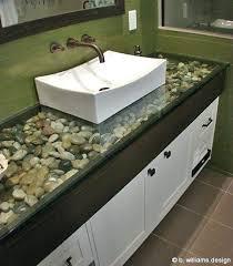 glass bathroom countertopsbathroom ideas river rock under glass