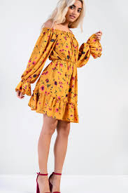 autumn floral bardot dress by glamorous dresses clothing topshop