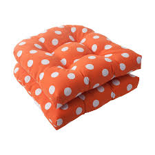 Patio Furniture Cushions Lowes by Shop Pillow Perfect Set Of 2 Polka Dot Orange Patio Chair Cushions