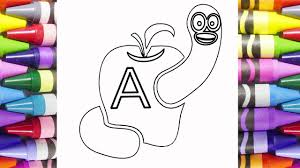 learn alphabet w coloring pages apple worm letter a