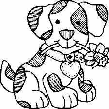 Coloriage de chien avec fleurs  Coloriages de chiens  Coloriages