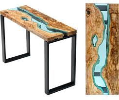 Wooden Furniture Table Topography Wood Furniture Embedded With Glass Rivers And