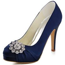 wedding shoes navy blue eleganrpark ep2015 pf women s prom pumps high heel rhinstones