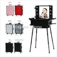 makeup luggage with lights professional rolling studio makeup case with lights legs mirror 6