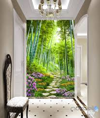 forest nature flowers wall murals idecoroom 3d bamboo forest flower corridor entrance wall mural decals art print wallpaper 047