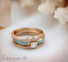 opal wedding ring blushing sea radiance tier 2 diamond opal gold engagement ring