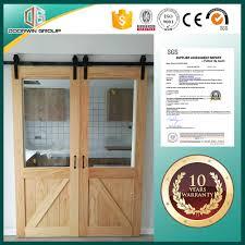 double wooden partition glass insert barn sliding door buy