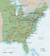 map us railroads 1860 roads canals and rails in the 1800s national geographic society