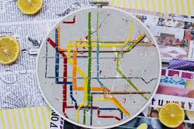 Metro Map New York by Nyc Subway Map Modern Embroidery New York Metro Map Hoop Art