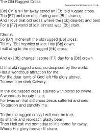Old Rugged Cross Old Time Song Lyrics With Guitar Chords For The Old Rugged Cross Bb