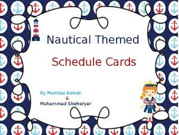 nautical themed schedule cards editable by mzat tpt