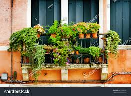 scenic balcony old house decorated flowers stock photo 317466698