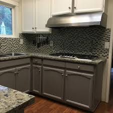 two tone cabinets in kitchen cabinet repainting with two tone color in redwood city home by
