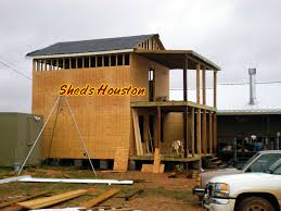 Two Story Log Homes 2 Story Shed 009 Sheds Houston Porch Installation Balcony Jpg