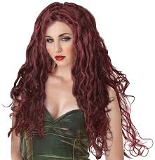 red wigs for halloween amazon com california costumes medusa wig dark red one size