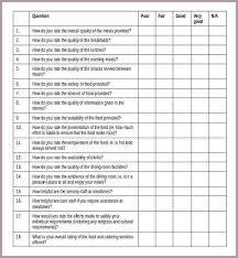 survey template sample service user food satisfaction survey