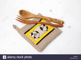 kitchen utensils linen potholder wooden tools isolated on white