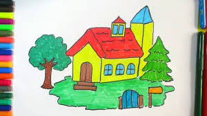 how to draw beautiful drawing learn how to draw a beautiful house for colorful drawing