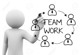 3d rendering of man drawing sketch of team work concept with