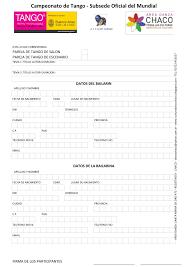 Famosos Ficha de Inscripcion al Mundial de Tango | AREA DANZA &GN91
