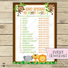 who knows baby shower jungle baby shower who knows best printable safari