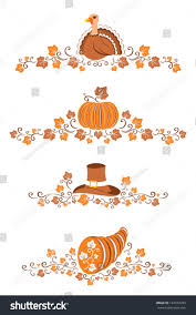 thanksgiving ornaments four autumn borders stock vector 144573299