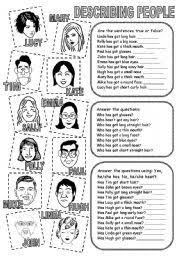 describing people 2 worksheets engels english pinterest