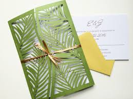wedding invitations san antonio laser cut palm leaf tree wedding invitation gatefold style green