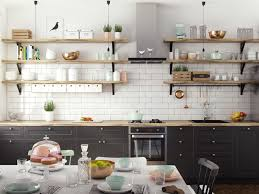 Open Shelves Under Cabinets Design Stencilled White Kitchen Pastel Hues Cream Abd Grey Height