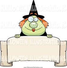 Halloween Banner Clipart by Clip Art Of A Plump Happy Green Witch Looking Over A Blank Banner
