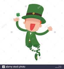 vector illustration of a jumping smiling cartoon leprechaun
