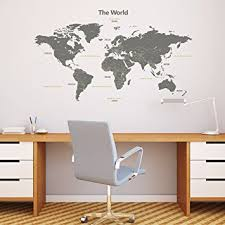 Wall Stickers For Kids Rooms by Amazon Com Decowall Dmt 1509g Modern Grey World Map Kids Wall