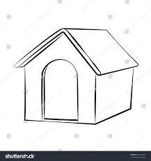 outline sketch dog house vector illustration stock vector