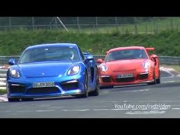 porsche cayman gt3 rs porsche cayman gt4 and 991 gt3 rs together on the nurburgring