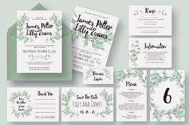 wedding invitation size eucalyptus wedding invitation suite invitation templates
