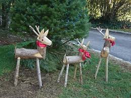 wooden reindeer with pretty bows decorations