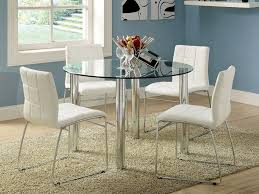 kona round glass top dining table set bold chrome legs 4 chairs