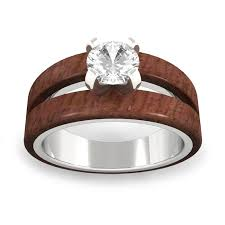 wood engagement rings split wood engagement ring with moissanite in white gold